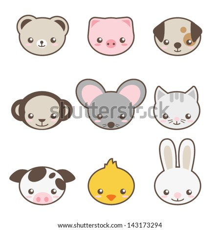 Set of animals faces - stock vector