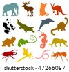Set of animals icons  - silhouettes B - stock vector