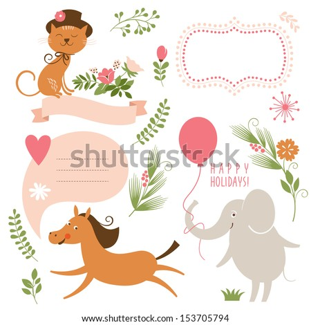 Set of animals illustrations and graphic elements for invitation cards, party invitation, holiday gifts, birthday cards - stock vector