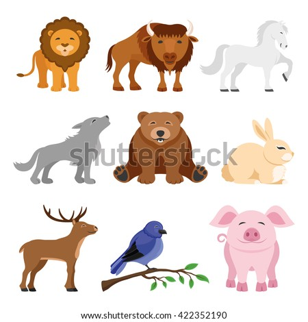 Set of animals. Lion, buffalo, horse, wolf, bear, deer, rabbit, bird and pig. - stock vector
