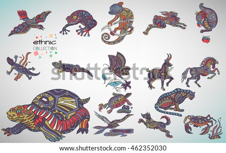 Set of animals patterns with hand-drawn doodle waves and lines. Bird, frog, chameleon, rabbit, squirrel, iguana, butterfly, mountain goat, horse, turtle, leopard, dog, crab, swallow.