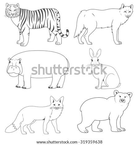set of animalswild predators and herbivores - Free Line Drawings Of Animals