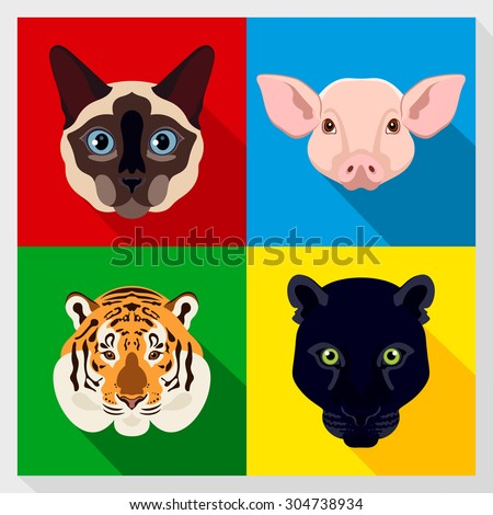 Set of animals with Flat Design. Symmetrical portraits of animals. Vector Illustration. siamese, cat, panther, tiger, pig. A set of symmetric vector portraits animals. Icon Set. Animal face.  - stock vector