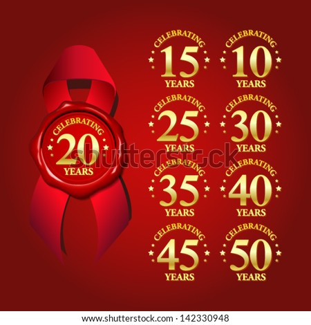 set of anniversary celebrating wax seal with red ribbon - stock vector