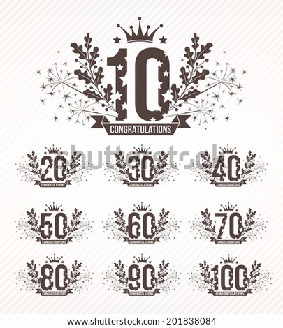 Set of anniversary design emblems in retro style. Monochrome version. - stock vector