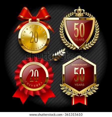 Set of anniversary labels and classic gold tags for sale. Vector illustration - stock vector