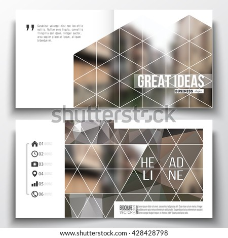 Set of annual report business templates for brochure, magazine, flyer or booklet. Polygonal background, blurred image, urban landscape, modern stylish triangular vector texture. - stock vector