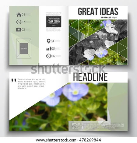 Set of annual report business templates for brochure, magazine, flyer or booklet. Polygonal floral background, blurred image, blue flowers in green grass closeup, modern triangular texture