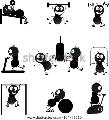 set of ant sport - stock vector
