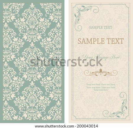 set of antique greeting cards, invitation with victorian ornaments, beautiful, luxury postcards  - stock vector