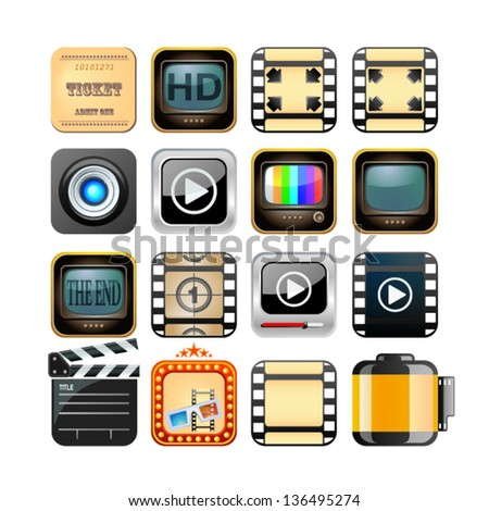 set of app film icons - stock vector