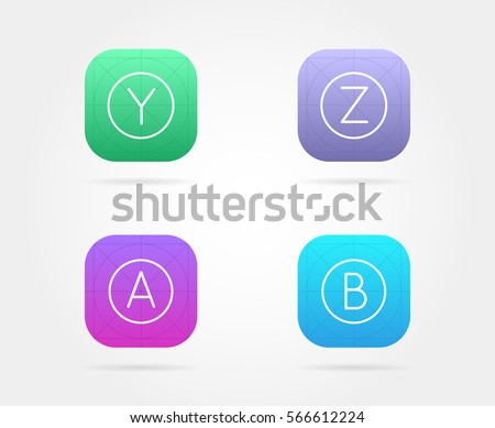 Set of App Icon Template with Guidelines. Vector Fresh Colour