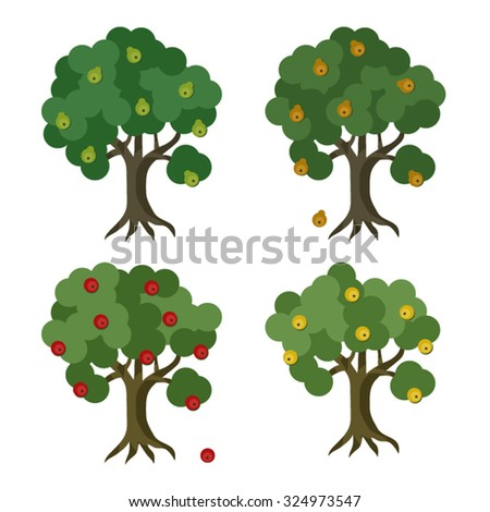 Set of apple and pear trees