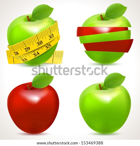 Set of apple icons. Vector - stock vector