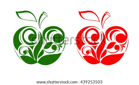 Set of apples from apple leaves with floral ornament