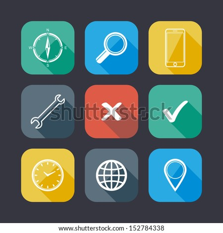 set of application web icons. flat design with long shadows  - stock vector
