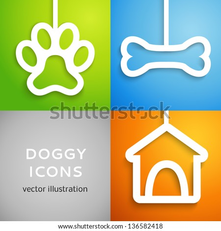 Set of applique doggy icons. Vector illustration for happy canine design. Doghouse, bone and animal footprint cut out white paper. Isolated on colorful background. - stock vector