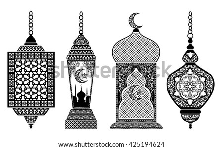Set of arabic lanterns, decoration for holy month of muslim community Ramadan Kareem, EPS 10 contains transparency  - stock vector