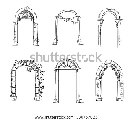 Set Arches Architectural Detail Vector Illustration Stock Vector