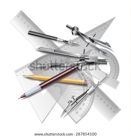 Set of Architectural Drawing Tools, isolated on white. Vector clip-art - stock vector