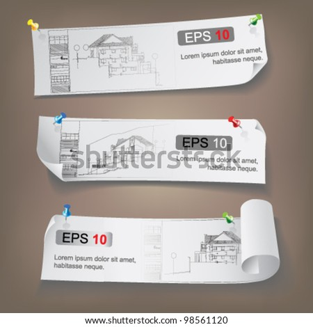 Set of Architectural Web Banners. Isolated on light background. Vector clip-art - stock vector