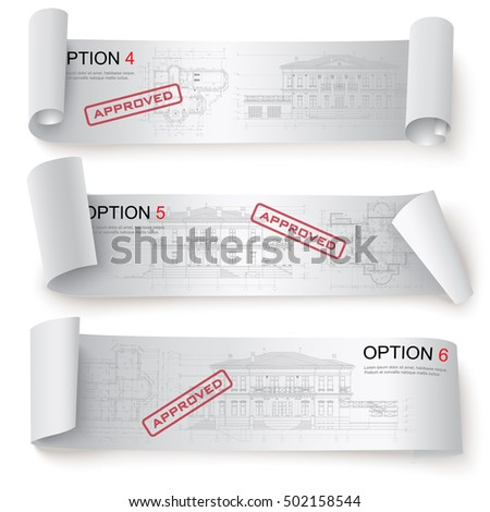 Set of Architectural Web Banners. Isolated on white background. Vector clip-art