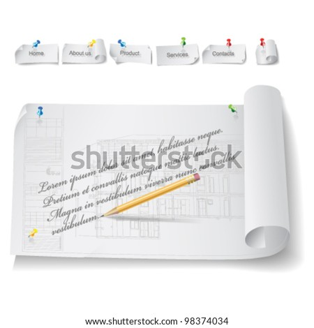 Set of Architectural Web Elements.  Isolated on white background, vector clip-art - stock vector