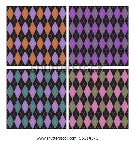 set of 4 argyle pattern - stock vector