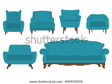 Set of armchair in flat design. Vector Illustration