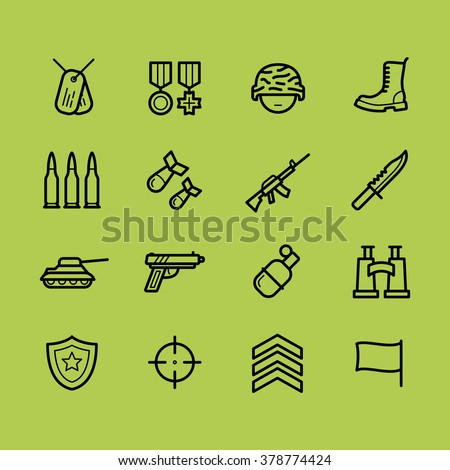 Set of army and military icons. Line style. Army objects and symbols. Army stock vector image. - stock vector