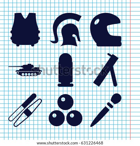 Set of 9 army filled icons such as nail sawing, sawing, knight, canon ball, cannon, bulletproof vest, bullet, tank
