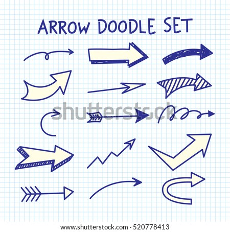 Set of arrow doodle on paper background