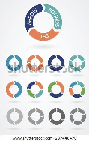 Set of arrow rounds colored and black and white versions vector illustration. - stock vector