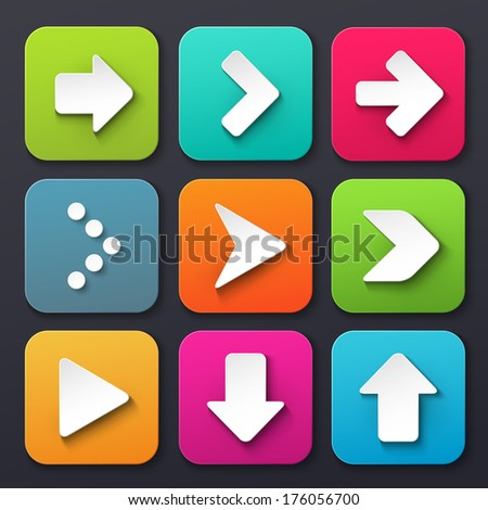 Set of Arrow Sign Icons - stock vector