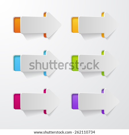 set of arrows cut in paper - stock vector