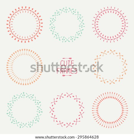 Set of arrows frames. Trendy hand drawn doodles style. Sketch. Illustration. Vector ethnic set with feathers, arrows and in native style. Decorative elements. Tribal native American set of symbols. - stock vector
