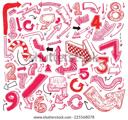 Set of arrows, hand drawn vector illustration. - stock vector