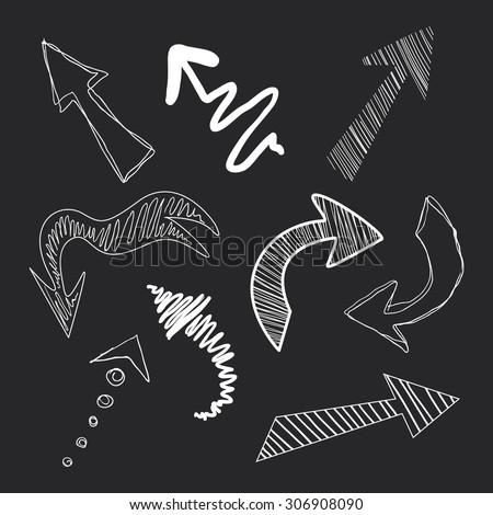 Set of arrows in chalk on a blackboard vector  - stock vector