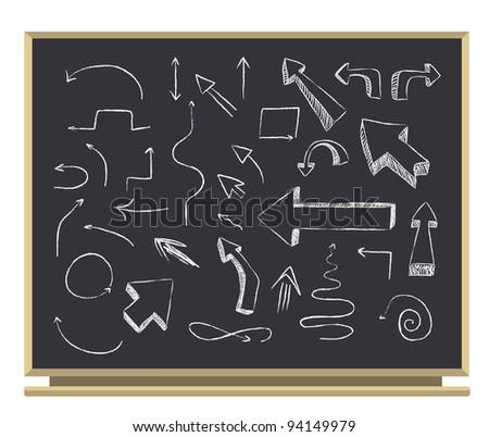 set of arrows on blackboard - stock vector