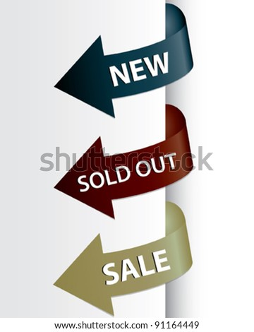 Set of arrows pointing at the new, sold out and discount item