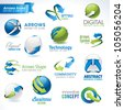 Set of arrows vector icons and elements - stock photo
