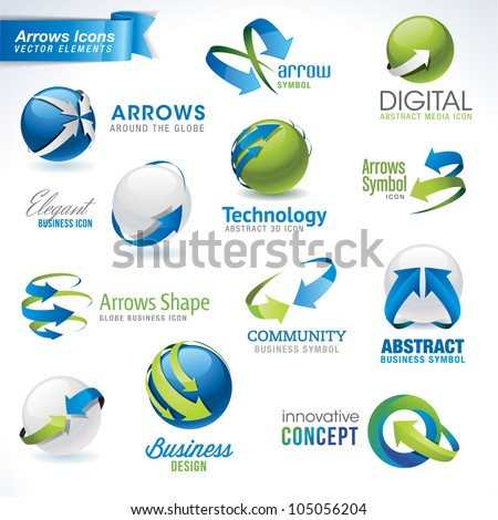 Set of arrows vector icons and elements - stock vector