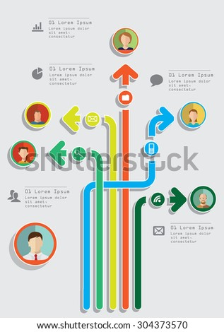 set of arrows with elements of info graphics with avatars and people icons - stock vector
