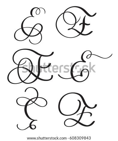 Set Of Art Calligraphy Letter E With Flourish Vintage Decorative Whorls Vector Illustration EPS10