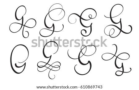 Set Of Art Calligraphy Letter G With Flourish Vintage Decorative Whorls Vector Illustration EPS10