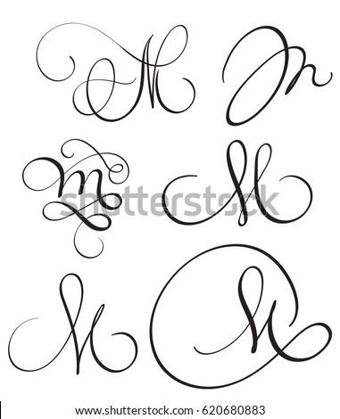Set Of Art Calligraphy Letter M With Flourish Vintage Decorative Whorls Vector Illustration EPS10