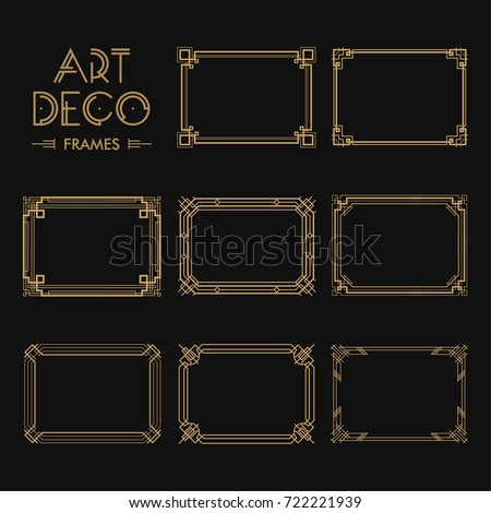 set art deco borders frames creativeのベクター画像素材 722221939