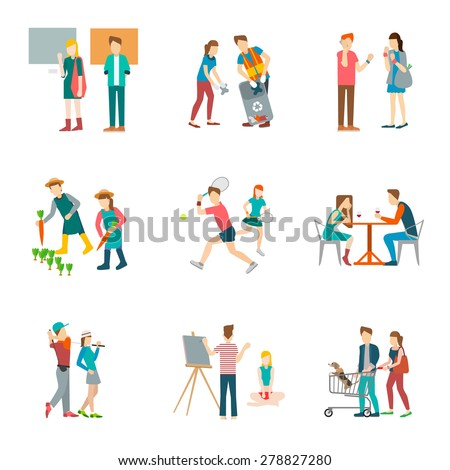 set 9 of art museum,gardening,trash volunteer,tennis,dating,golfing,portrait, vector illustration isolate on white background. - stock vector