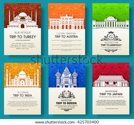 set of art ornamental travel and architecture on ethnic floral flyers. Vector decorative banner of card or invitation design. Historical monuments of Tourkey, Austria, Germany, India, Japan, Russia - stock vector