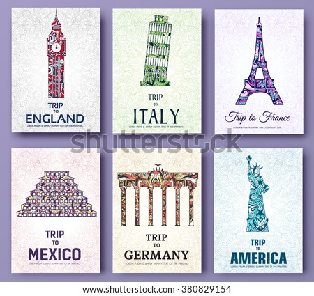set of art ornamental travel and architecture on ethnic floral style flyers. Vector decorative banner of card or invitation design. Historical monuments of France, England, Italy, USA, Germany, Mexico - stock vector